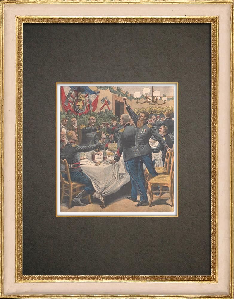 Gravures Anciennes & Dessins   Sainte-Barbe - Fête traditionnelle - Banquet des pompiers - 1908 - France   Gravure sur bois   1908