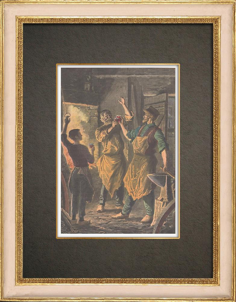 Stampe Antiche & Disegni | Sant' Eligio - Festa tradizionale degli fabbri - Francia - 1908 | Incisione xilografica | 1908