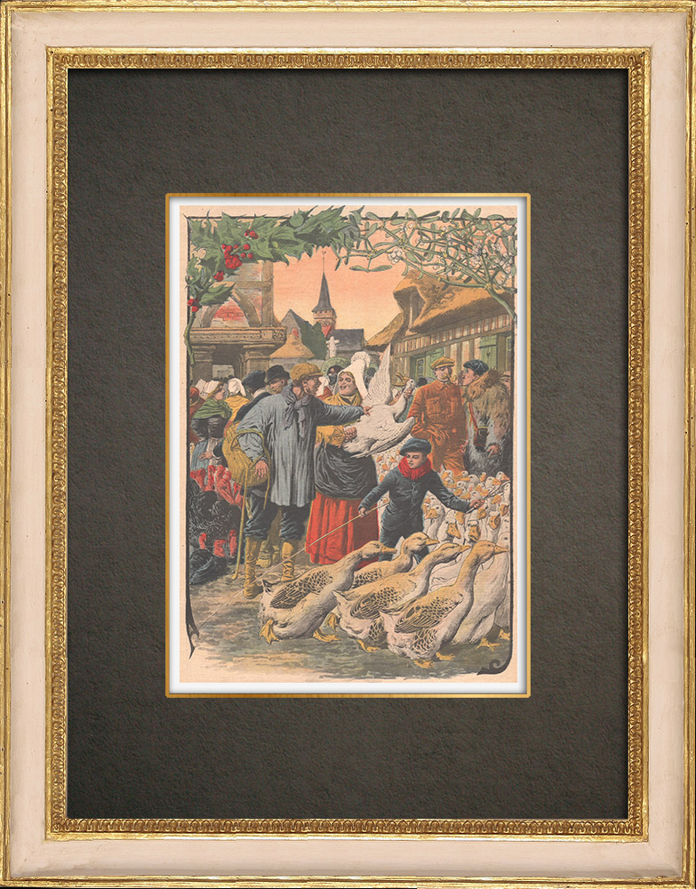 Antique Prints & Drawings | The poultry market before Christmas in Normandy - France - 1908 | Wood engraving | 1908