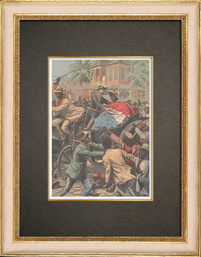 Antique Prints & Drawings   Haitian Revolution - President Pierre Nord Alexis on a french ship - 1908   Wood engraving   1908