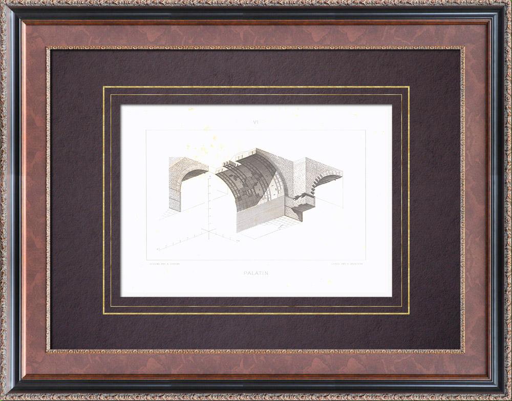 Stampe Antiche & Disegni   Colle Palatino - Casa di Augusto - Palazzo Imperiale - Volta - Roma   Stampa calcografica   1873