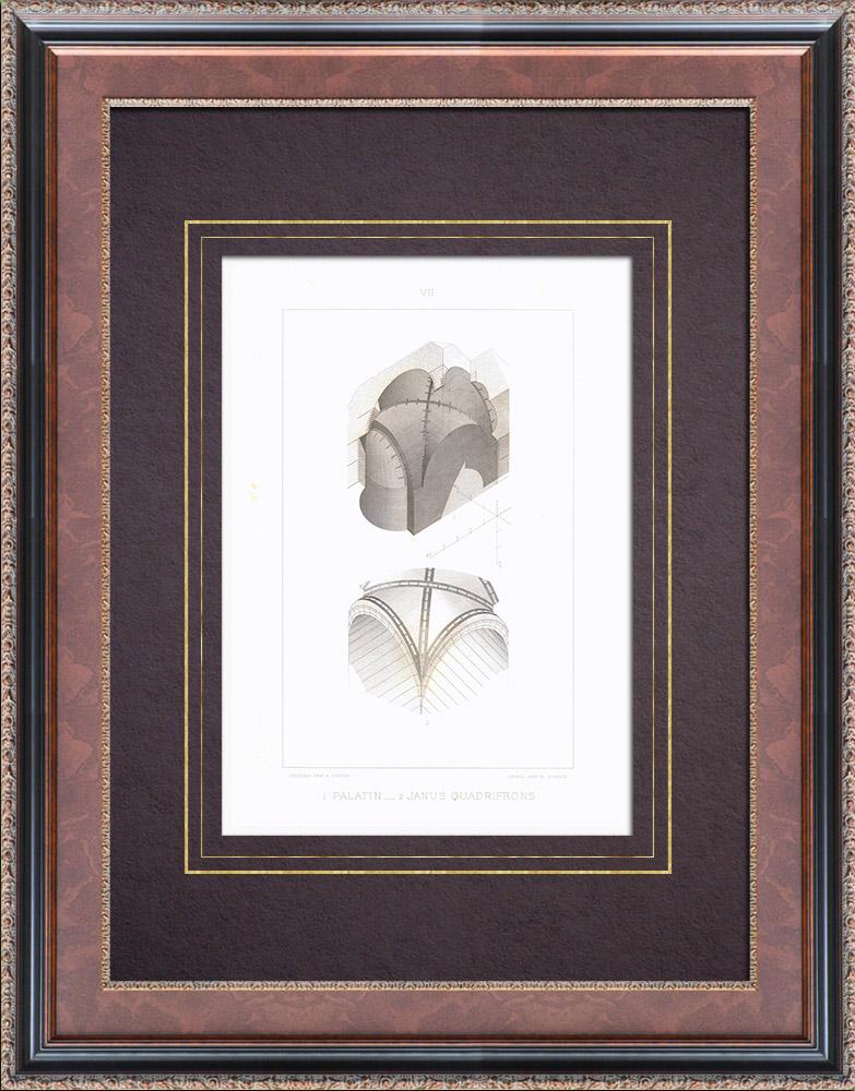 Gravures Anciennes & Dessins | Mont Palatin - Arc de Janus - Voûte d'arêtes - Rome | Taille-douce | 1873