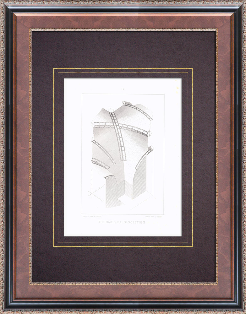 Antique Prints & Drawings   Baths of Diocletian - Ancient Rome - Viminal - Rome - Vault   Intaglio print   1873
