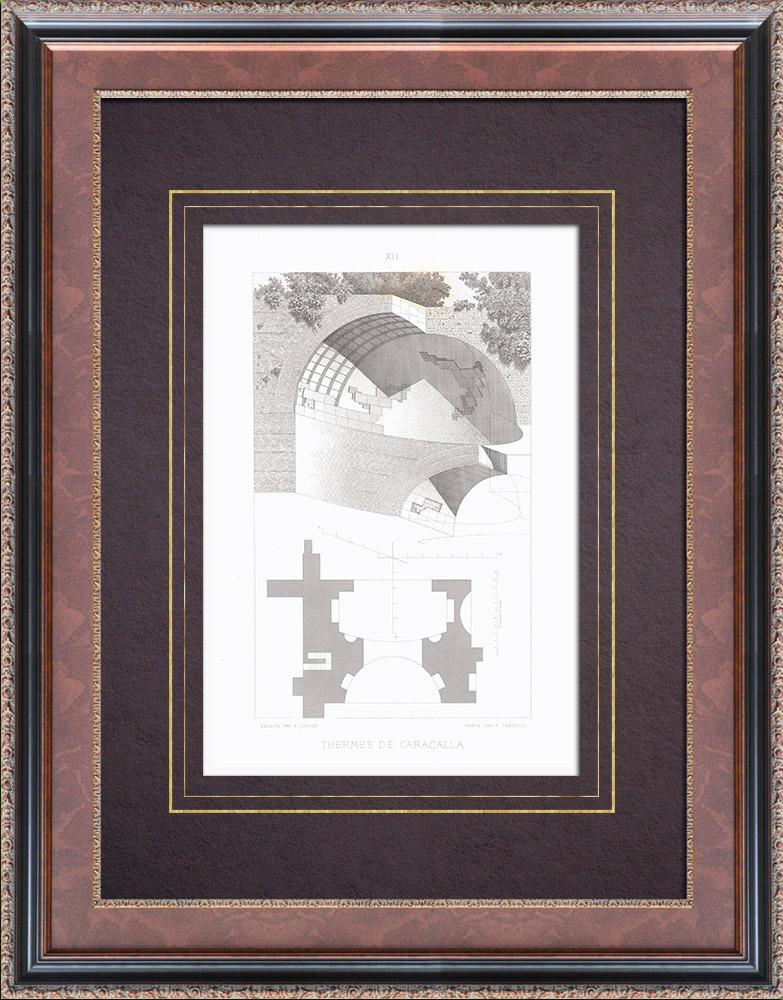 Antique Prints & Drawings | Baths of Caracalla - Rome - IIIth Century - Vault | Intaglio print | 1873