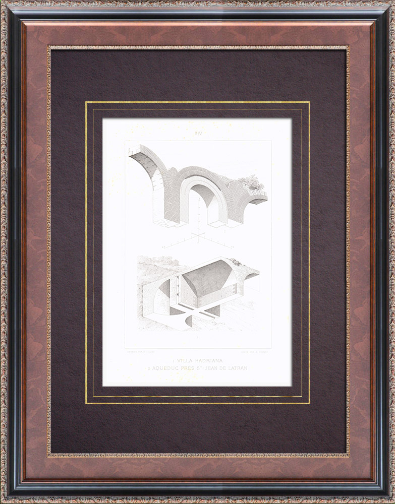 Gravures Anciennes & Dessins | Villa d'Hadrien - Villa Adriana - Latium - Tivoli - Aqueduc près de St Jean de Latran - Rome | Taille-douce | 1873
