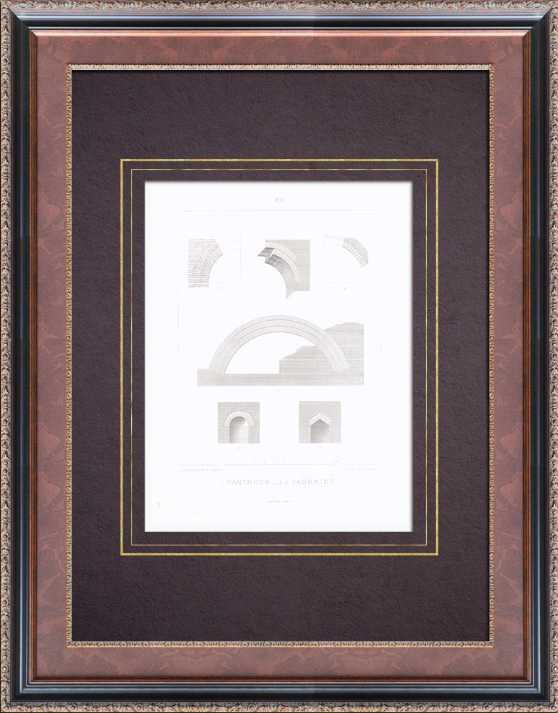Antique Prints & Drawings | Pantheon - Rome - Ancient theatre of Taormina - Roman Theatre - Sicily (Italy) | Intaglio print | 1873