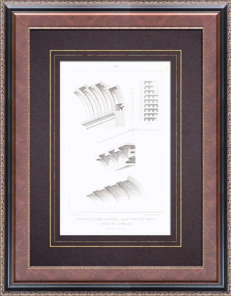 Stampe Antiche & Disegni | Tempio di Diana a Nîmes - Ponti di Narni - Arena di Arles - Volta - Arco | Stampa calcografica | 1873