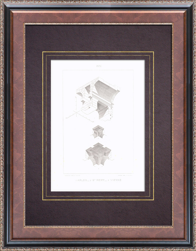 Gravures Anciennes & Dessins | Arènes d'Arles - Mausolée de St Rémy - Cirque romain de Vienne - Voûte | Taille-douce | 1873