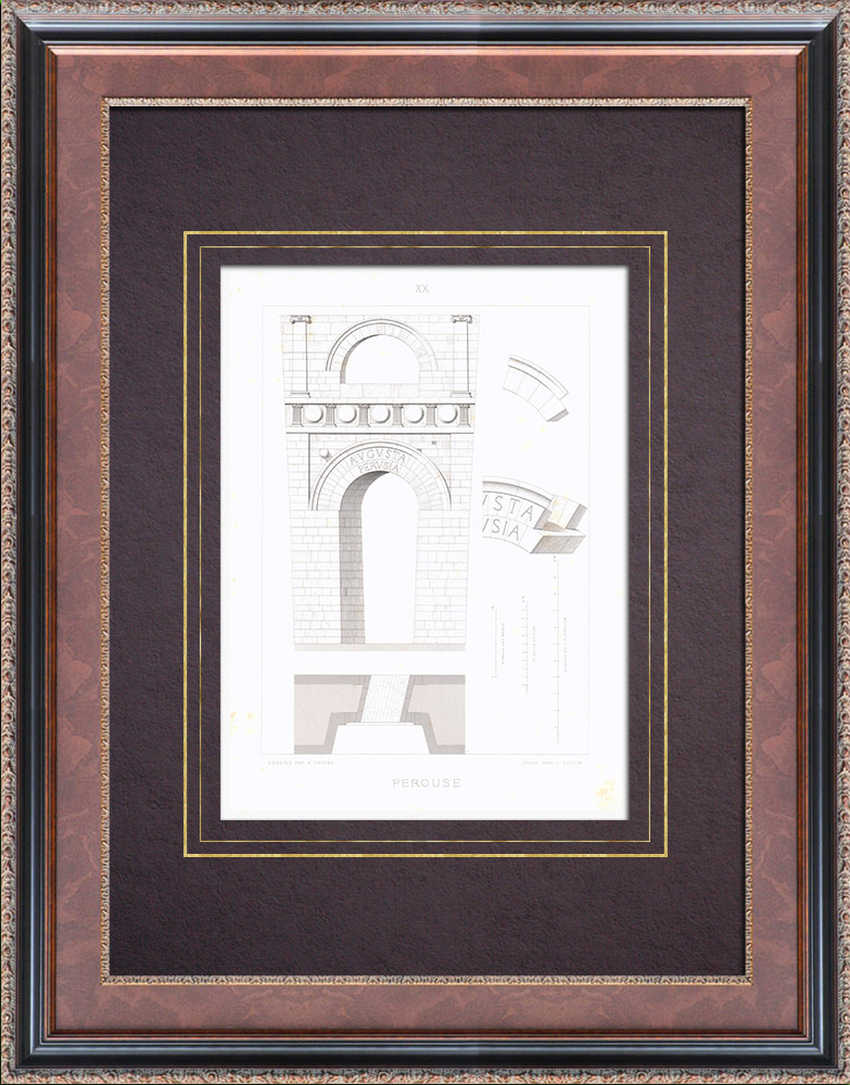 Antique Prints & Drawings   Arch of Augustus - Etruscan Bow - Perugia (Italy)   Intaglio print   1873