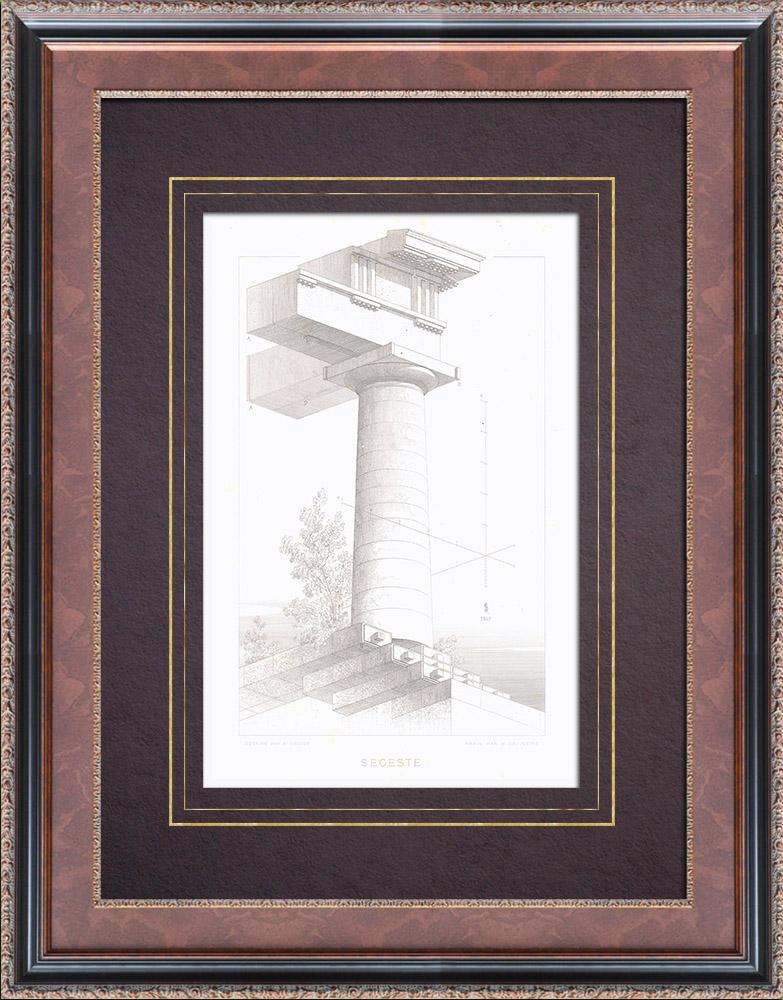 Gravures Anciennes & Dessins   Temple de Ségeste - Grèce antique - Sicile (Italie)   Taille-douce   1873