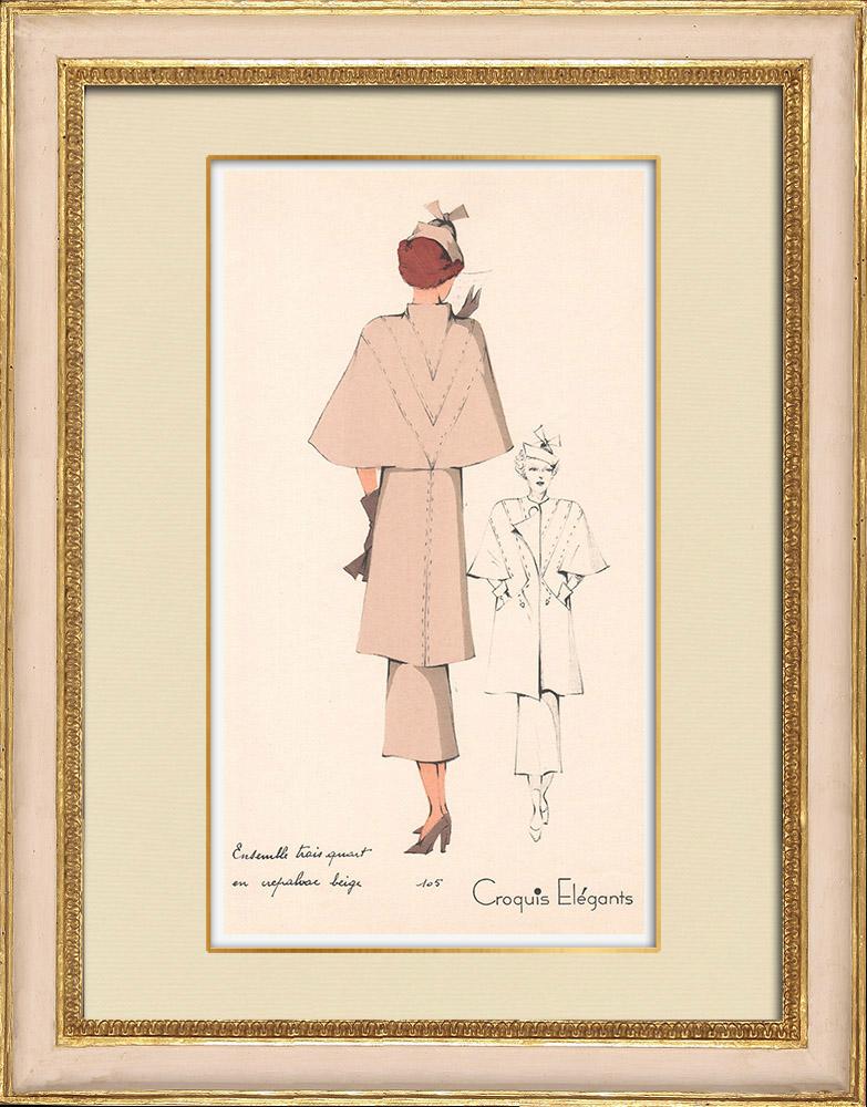 Stampe Antiche & Disegni | Stampa di Moda - Primavera 1935 - Ensemble Trois Quarts en Crepalvac Beige | Stampa | 1935
