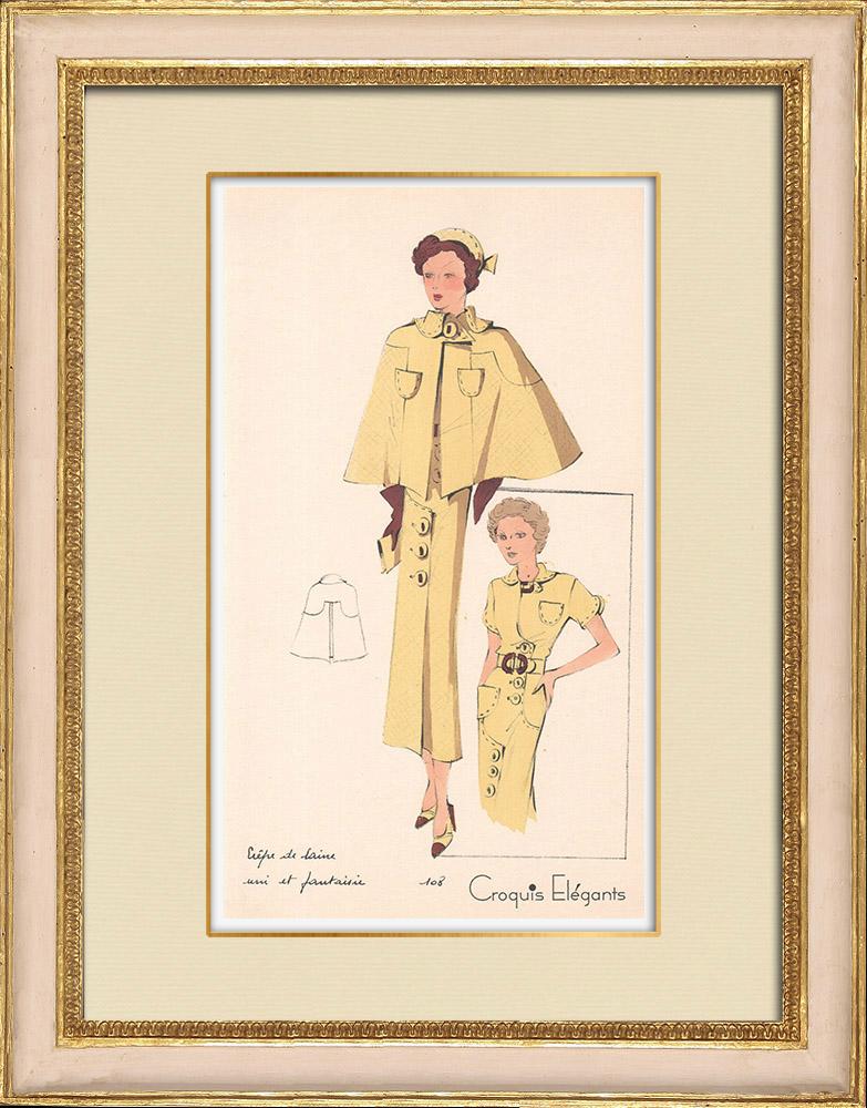 Antique Prints & Drawings   Fashion Plate - Spring 1935 - Crêpe de laine uni et fantaisie   Print   1935