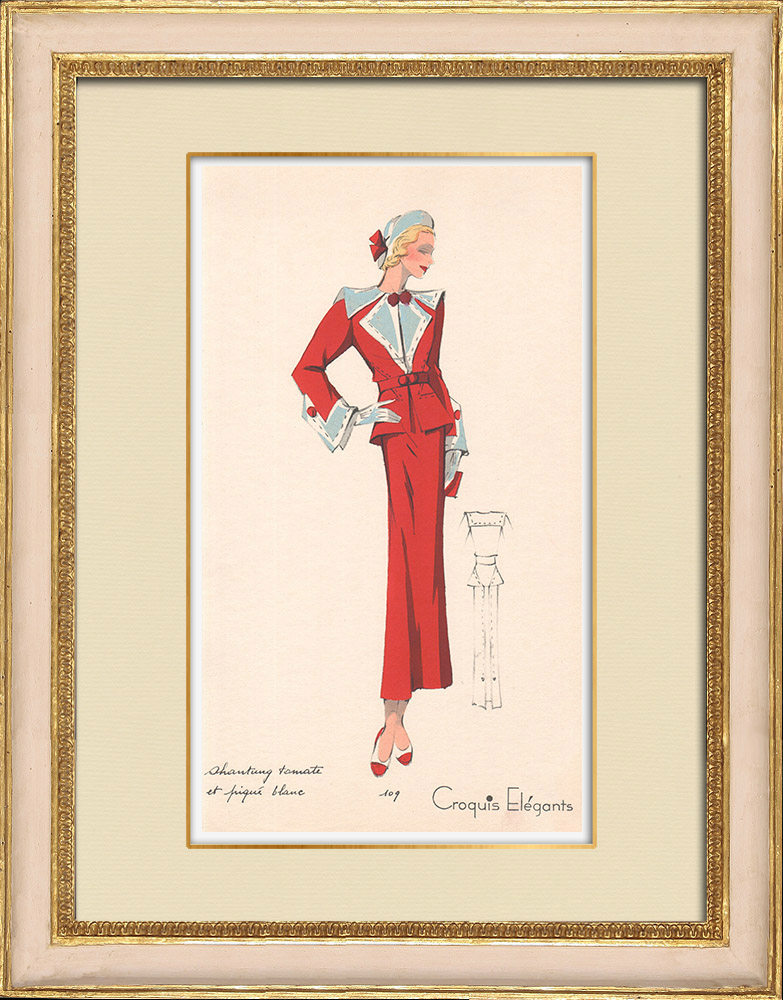 Gravures Anciennes & Dessins | Gravure de Mode - Printemps 1935 - Shantung tomate et piqué blanc | Impression | 1935