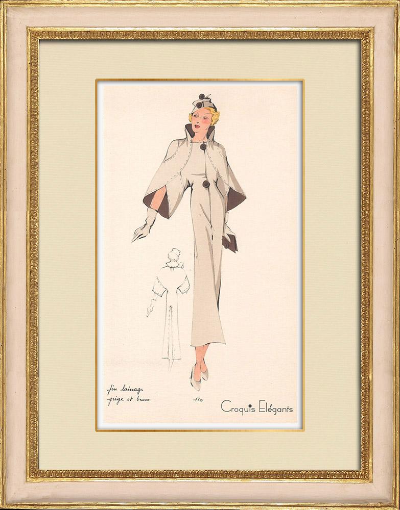 Stampe Antiche & Disegni | Stampa di Moda - Primavera 1935 - Fin lainage grège et brun | Stampa | 1935