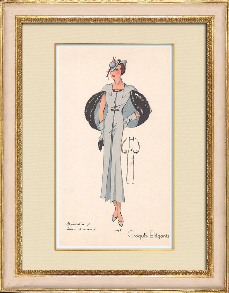 Stampe Antiche & Disegni | Stampa di Moda - Primavera 1935 - Marocain de laine et renard | Stampa | 1935