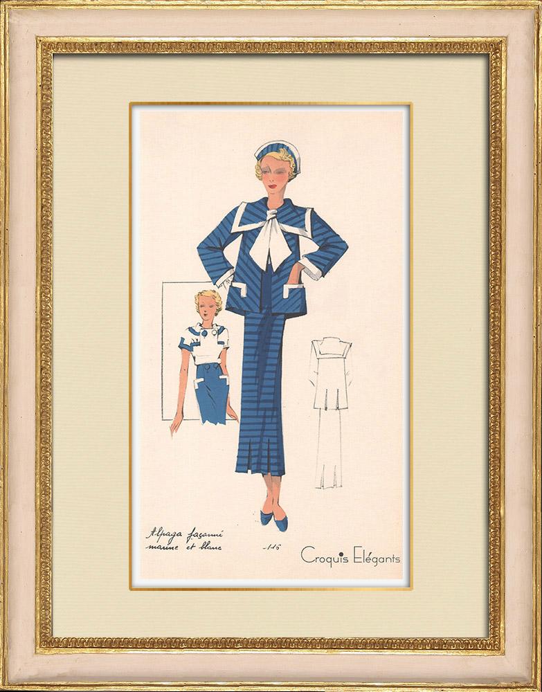 Stampe Antiche & Disegni   Stampa di Moda - Primavera 1935 - Alpaga façonné marine et blanc   Stampa   1935