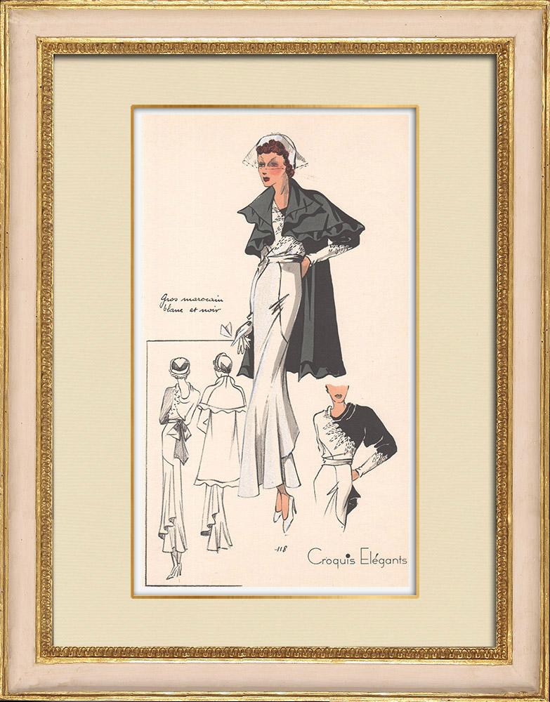Stampe Antiche & Disegni | Stampa di Moda - Primavera 1935 - Gros marocain blanc et noir | Stampa | 1935