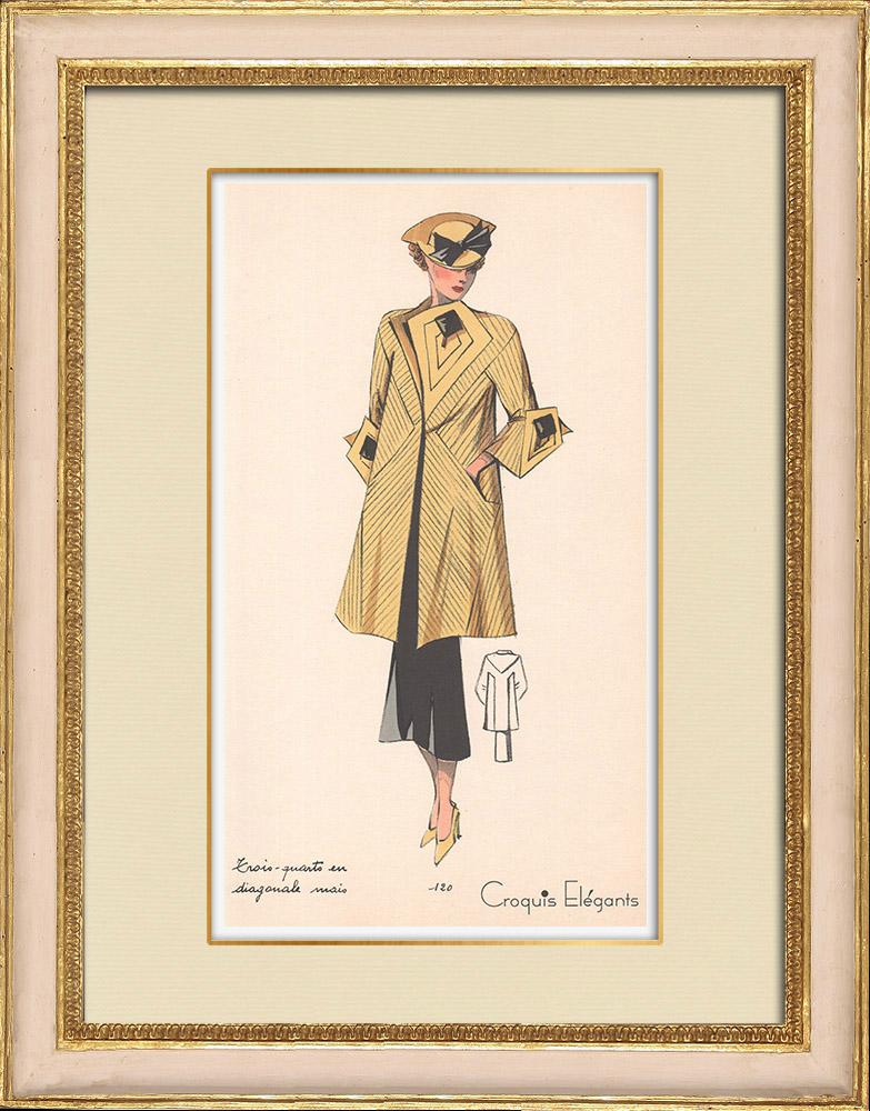 Antique Prints & Drawings | Fashion Plate - Spring 1935 - Trois Quarts en diagonale | Print | 1935