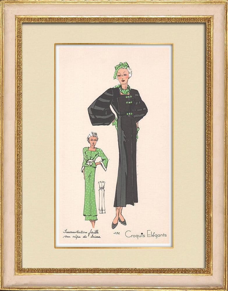 Stampe Antiche & Disegni | Stampa di Moda - Primavera 1935 - Incrustations faille sur crêpe de laine | Stampa | 1935