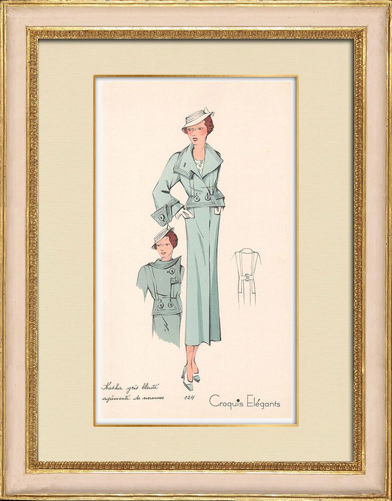 Antique Prints & Drawings | Fashion Plate - Spring 1935 - Kasha gris bleuté agrémenté de nervures | Print | 1935