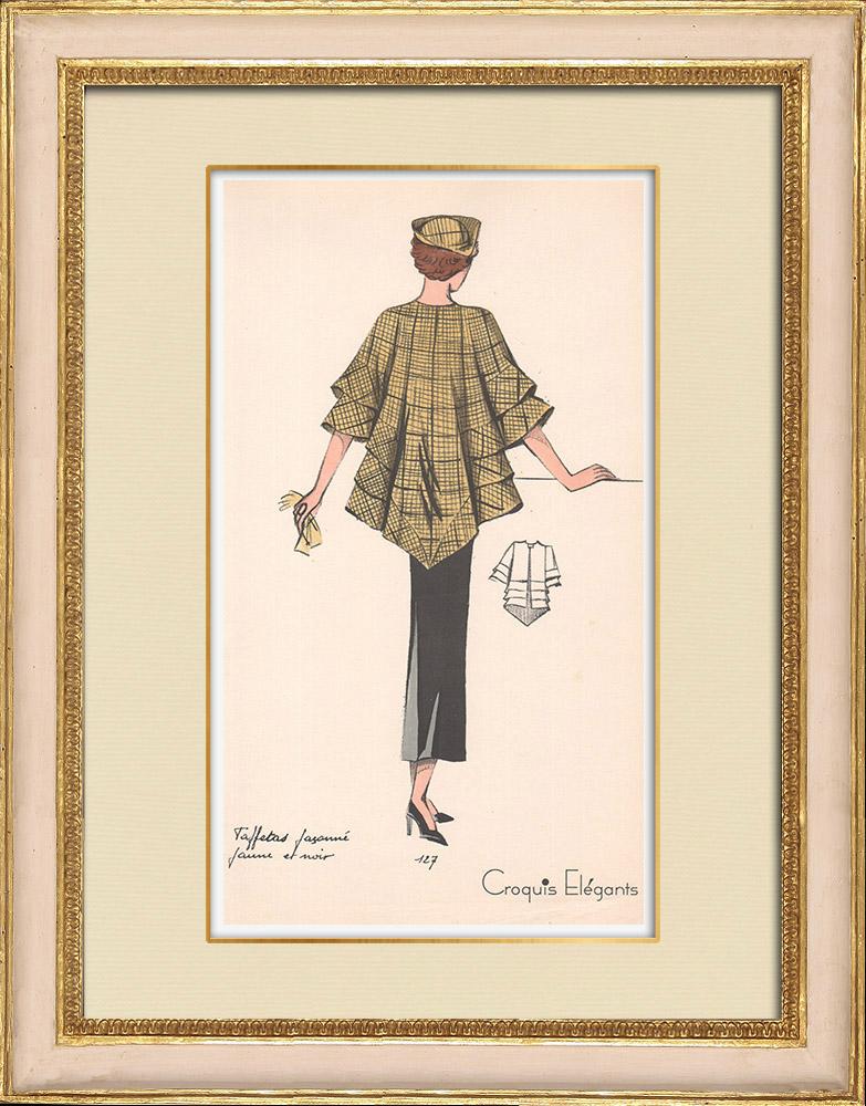 Antique Prints & Drawings | Fashion Plate - Spring 1935 - Taffetas façonné jaune et noir | Print | 1935
