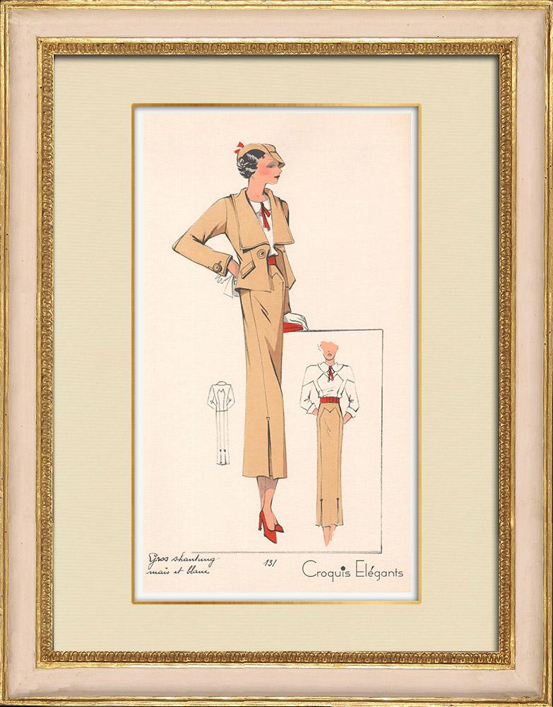Stampe Antiche & Disegni | Stampa di Moda - Primavera 1935 - Gros shantung maïs et blanc | Stampa | 1935