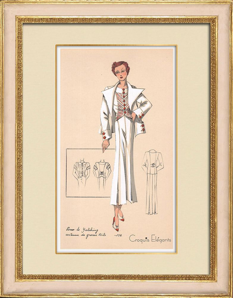 Antique Prints & Drawings | Fashion Plate - Spring 1935 - Pour le yatching costume de grosse toile | Print | 1935