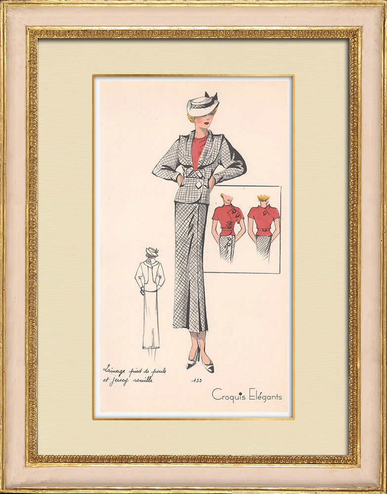 Gravuras Antigas & Desenhos | Gravura de Moda - Primavera 1935 - Lainage pied de poule et jersey rouille | Estampa | 1935