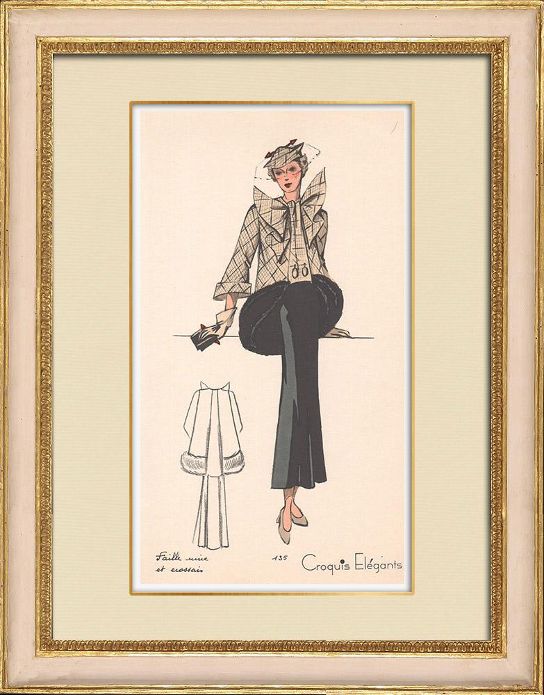 Antique Prints & Drawings | Fashion Plate - Spring 1935 - Faille unie et ecossais | Print | 1935