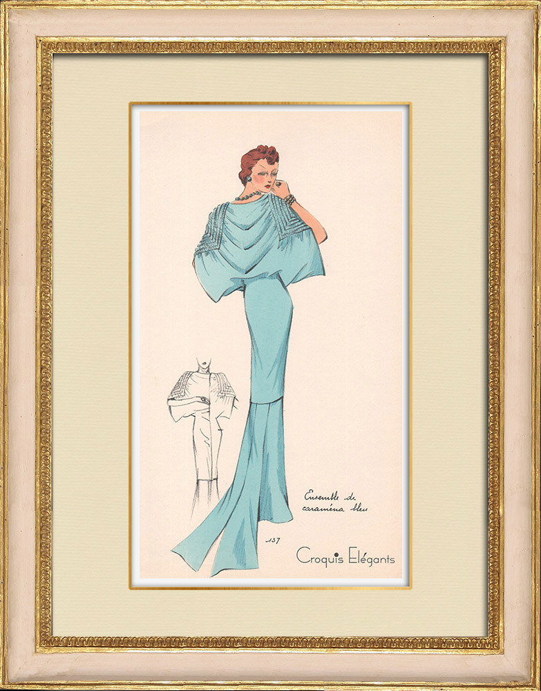 Grabados & Dibujos Antiguos | Grabado de Moda - Primavera 1935 - Ensemble de caraména bleu | Estampa | 1935