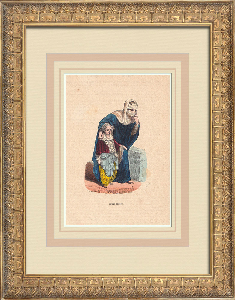 Stampe Antiche & Disegni   Turchia - Costume di donna   Incisione xilografica   1844