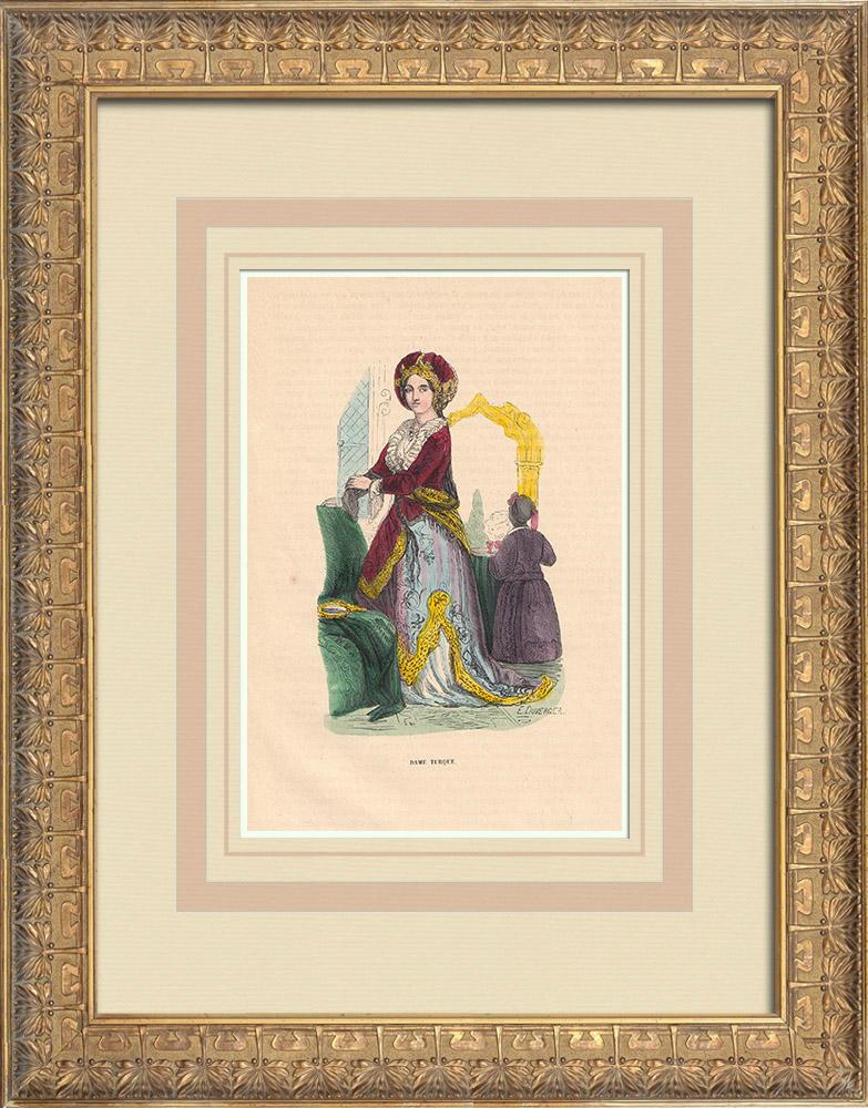 Stampe Antiche & Disegni | Turchia - Costume di donna - Borghesia | Incisione xilografica | 1844