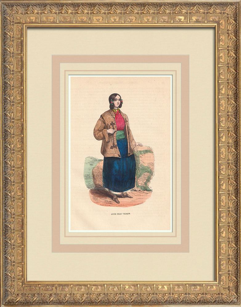 Stampe Antiche & Disegni | Costume tipico di una ragazza della Valacchia (Romania) | Incisione xilografica | 1844