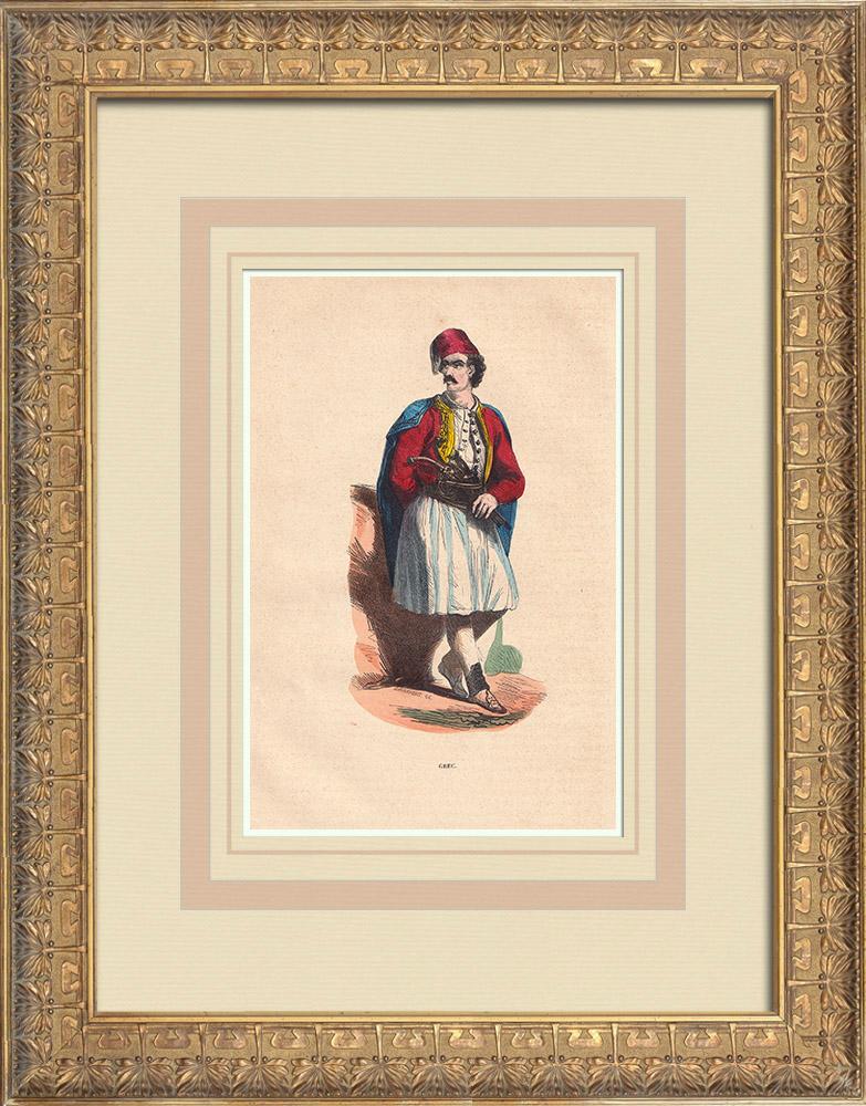 Grabados & Dibujos Antiguos | Traje típico de un hombre griego (Grecia) | Grabado xilográfico | 1844