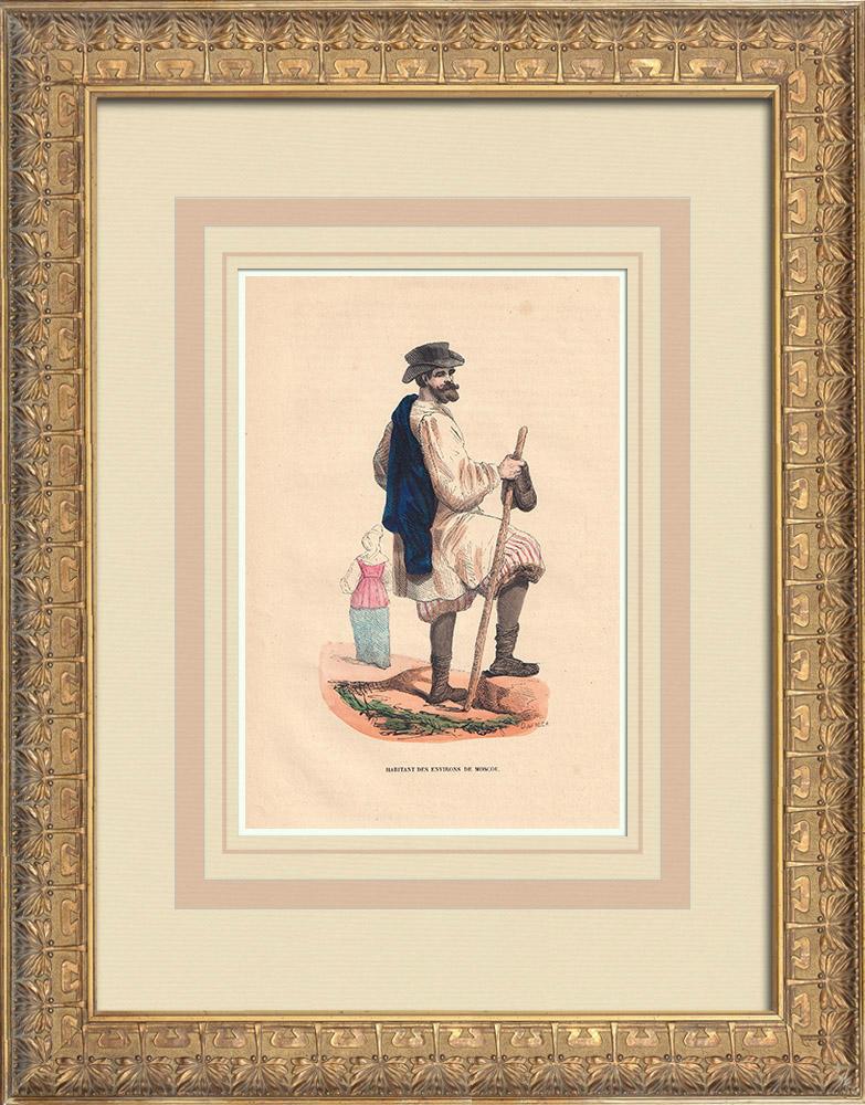 Stampe Antiche & Disegni   Costume tipico di un abitante dei dintorni di Mosca (Russia)   Incisione xilografica   1844