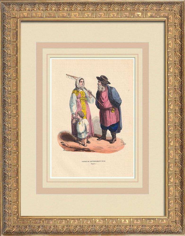 Gravures Anciennes & Dessins | Costume typique des paysans du gouvernement Tver (Russie) | Gravure sur bois | 1844