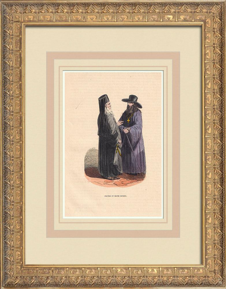 Stampe Antiche & Disegni | Costume tipico di sacerdoti e monaci russi (Russia) | Incisione xilografica | 1844