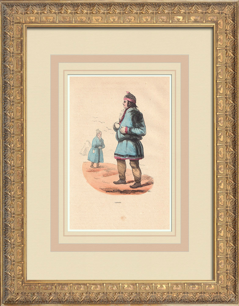 Stampe Antiche & Disegni | Costume Tipico Sami (Lapponia) | Incisione xilografica | 1844
