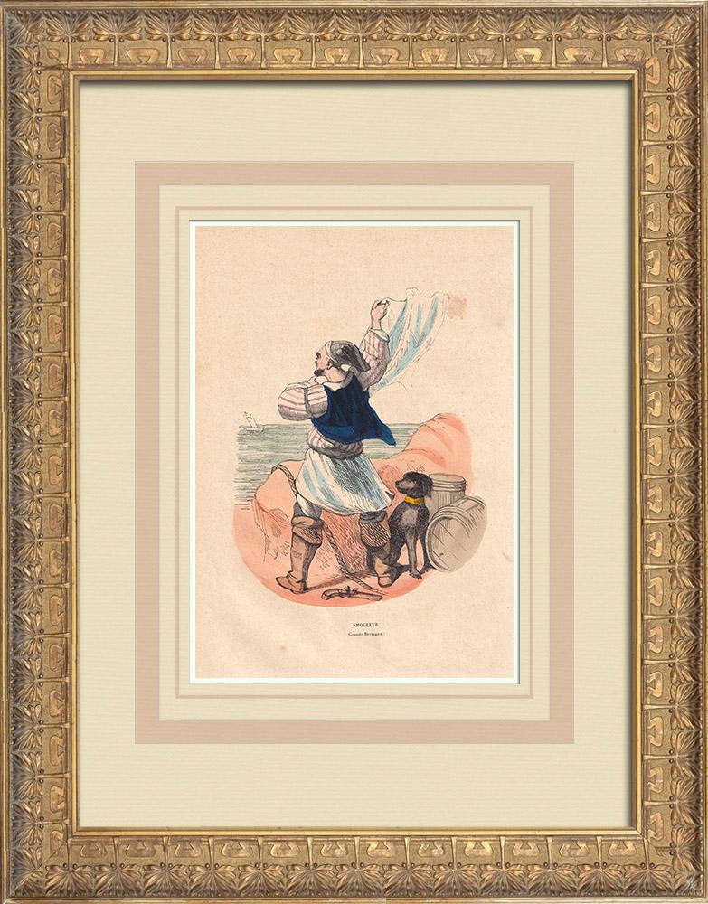 Stampe Antiche & Disegni | Costume Tipico di un contrabbandiere (Gran Bretagna) | Incisione xilografica | 1844
