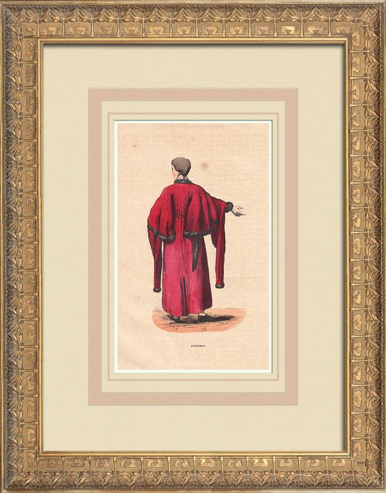 Stampe Antiche & Disegni | Costume tipico di un Alderman (Regno Unito) | Incisione xilografica | 1844