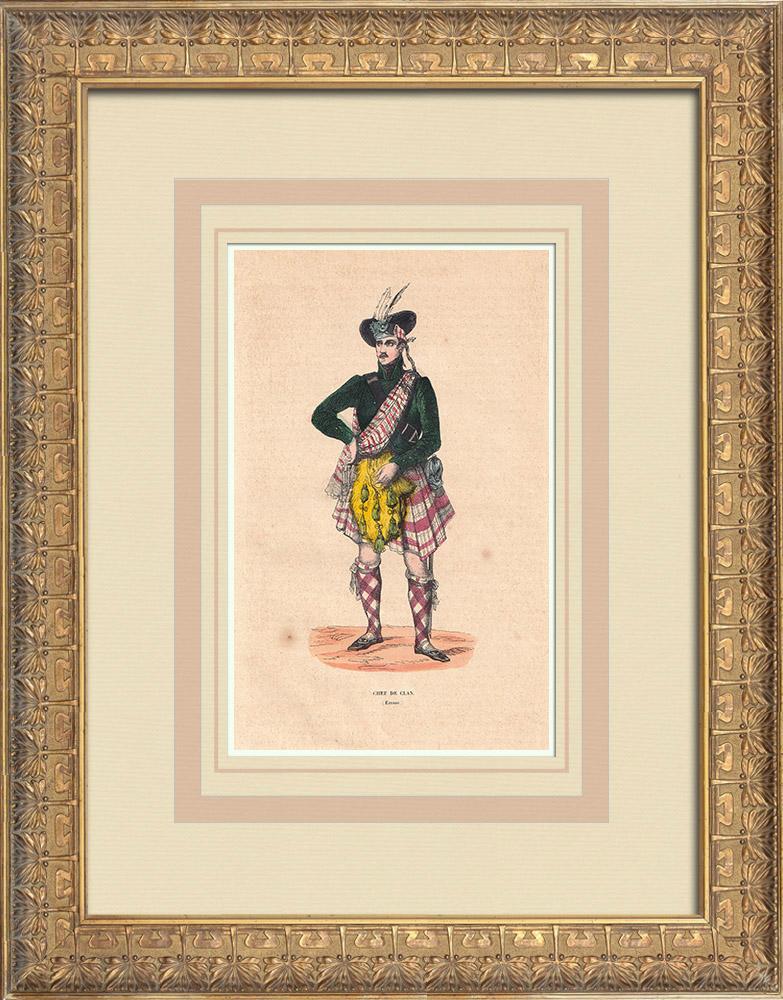 Stampe Antiche & Disegni   Costume Tipico di un capo del Clan (Scozia)   Incisione xilografica   1844