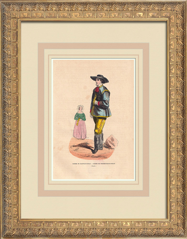 Antique Prints & Drawings | Swedish Typical Costumes - Scania (Sweden) | Wood engraving | 1844