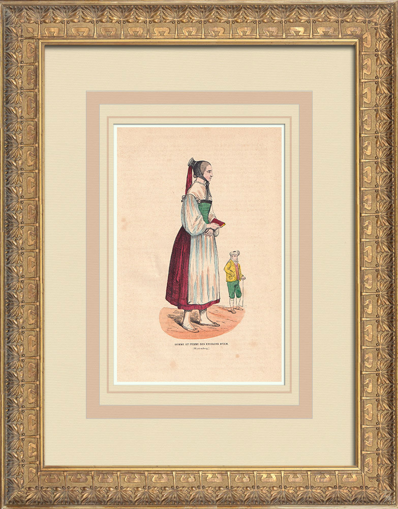 Gravures Anciennes & Dessins | Costume Typique des habitants des environs d'Ulm (Allemagne) | Gravure sur bois | 1844