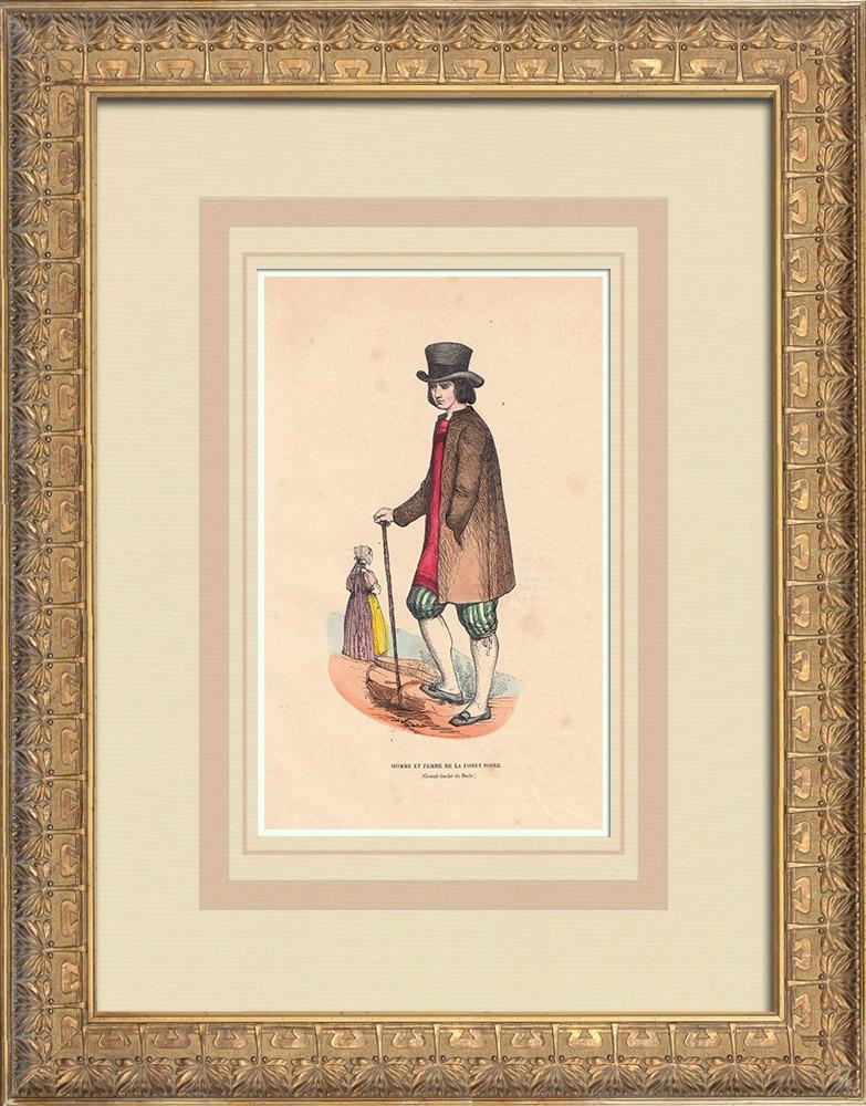 Gravures Anciennes & Dessins   Costume typique des habitants de la Forêt Noire (Allemagne)   Gravure sur bois   1844