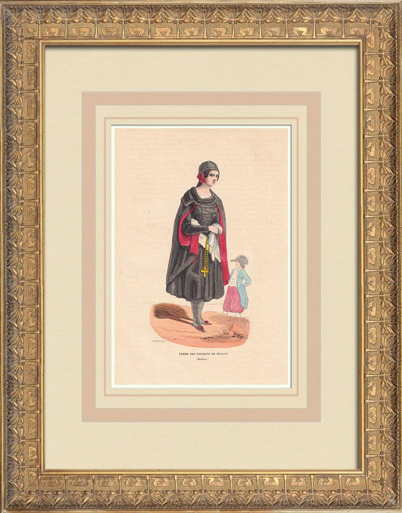Stampe Antiche & Disegni | Costume tipico delle donne nei dintorni di Praga - Boemia (Repubblica Ceca) | Incisione xilografica | 1844