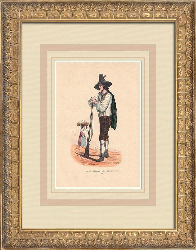 Stampe Antiche & Disegni | Costume Tipico - Cacciatore e Donna - Zillertal - Tirolo (Austria) | Incisione xilografica | 1844