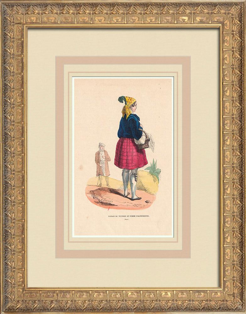 Stampe Antiche & Disegni | Costume Tipico - Sassonia - Contadino di Wenden e donna di Altenburg (Germania) | Incisione xilografica | 1844