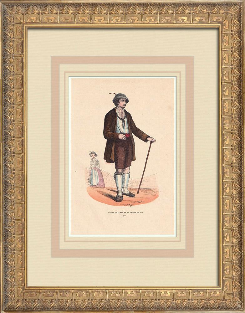 Gravures Anciennes & Dessins   Costume Typique - Homme et femme de la vallée de Dux - Tyrol (Autriche)   Gravure sur bois   1844
