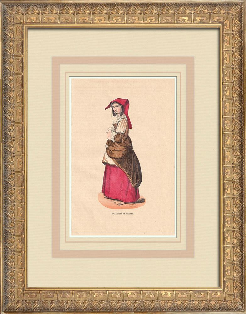 Stampe Antiche & Disegni | Costume tipico di una ragazza di Salerno - Campania (Italia) | Incisione xilografica | 1844