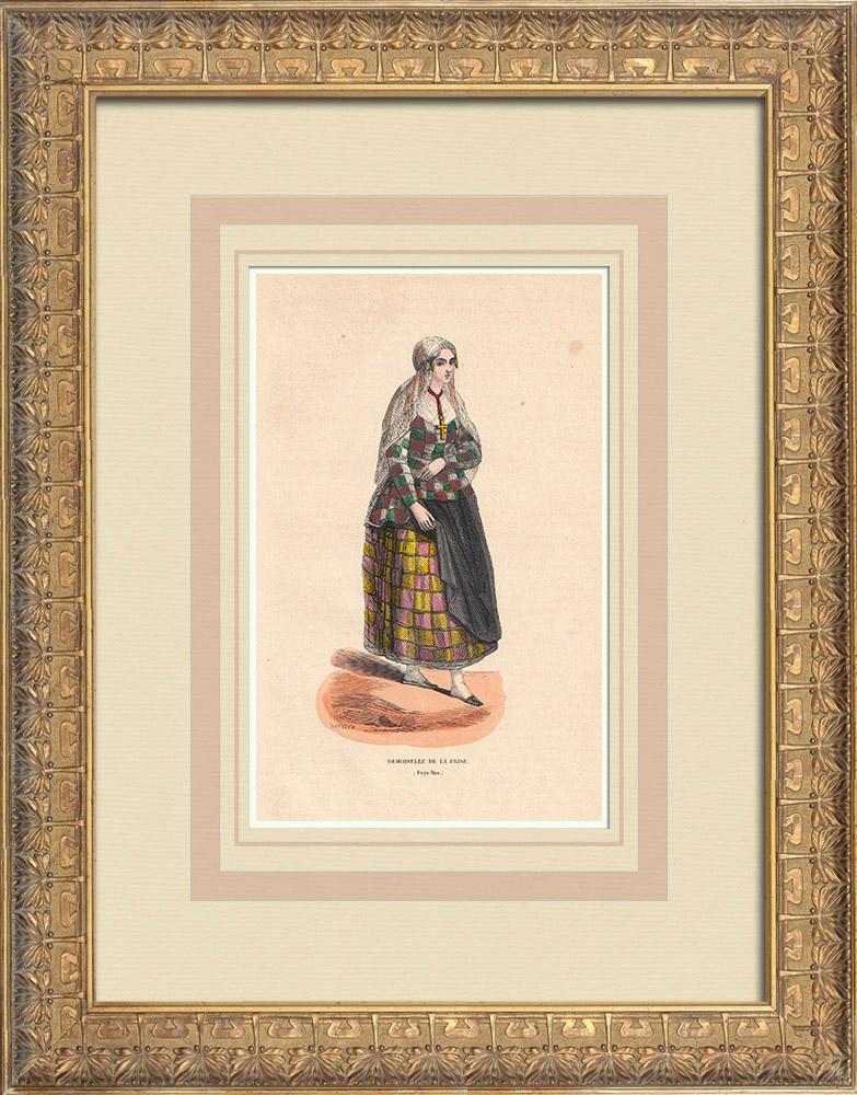 Stampe Antiche & Disegni | Costume tipico di una ragazza di Frisia (Paesi Bassi) | Incisione xilografica | 1844
